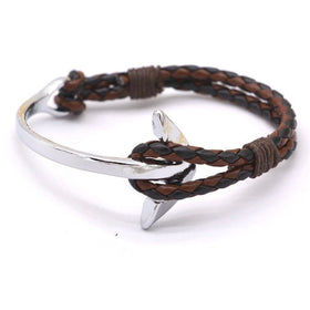 Brown Leather Anchor Bracelet Half Black Anchor