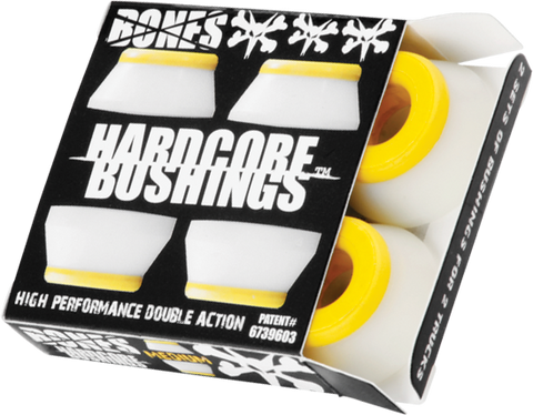 BONES HARDCORE 4PC MED WHITE/YELLOW BUSHINGS