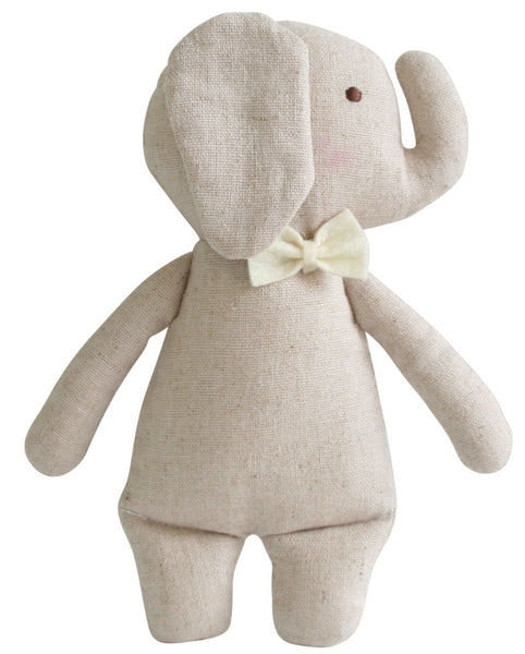 Linen Mini Rattle - Elephant
