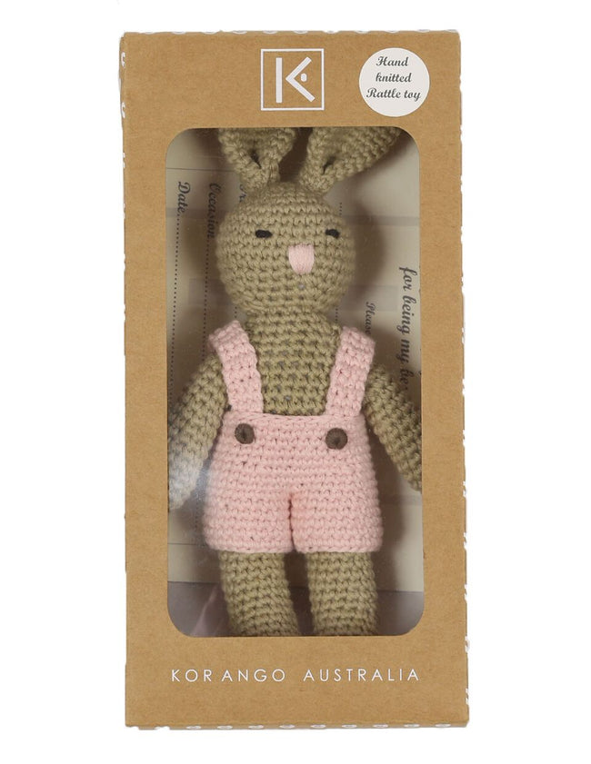 Knit Bunny Rattle - Pink
