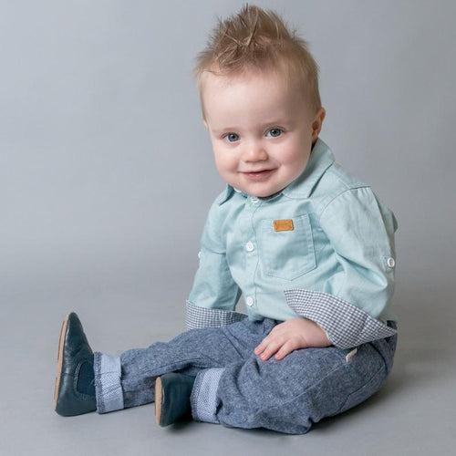 Baby Boys Shirt Romper - Chambray