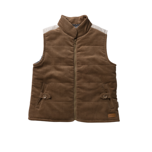 Cooper Puffer Vest - Taupe Cord