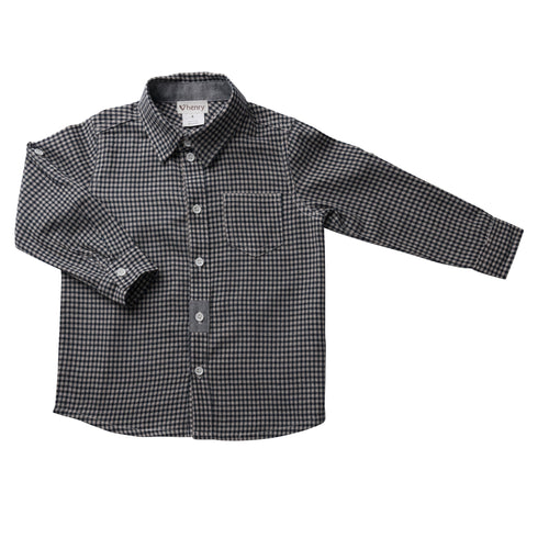 Boys Gingham Shirt - Navy/ White
