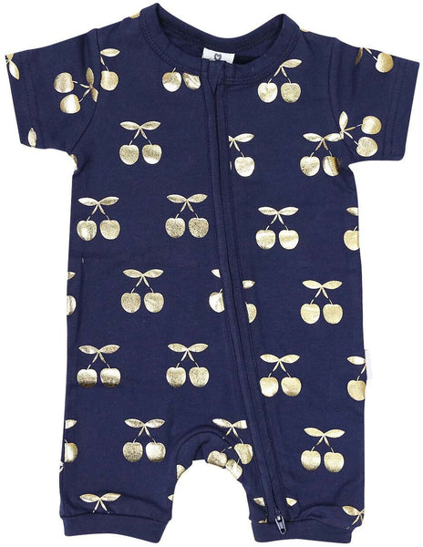 Cherry Zip Short Sleeve Romper - Navy