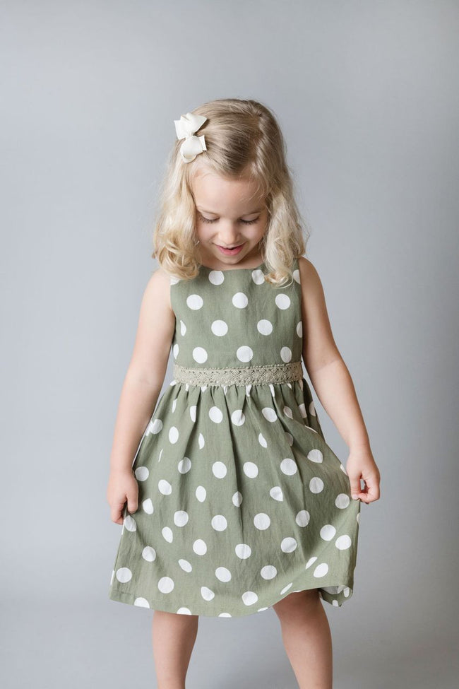 Eleanor Dress - Olive Spot