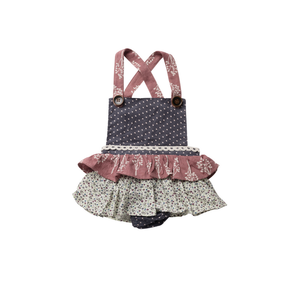 Frilly Playsuit - Mulberry Flora