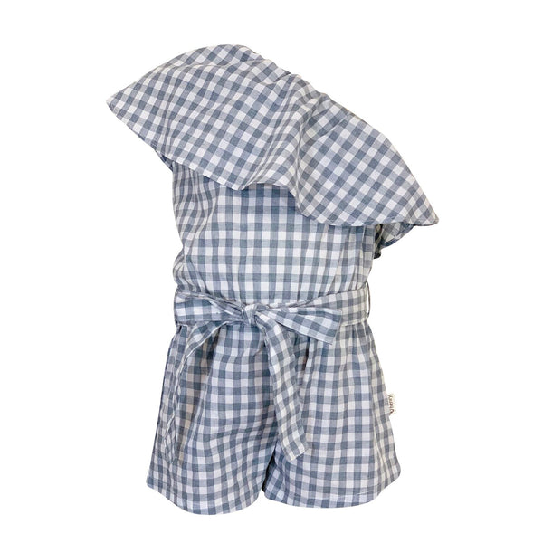 Love Henry | Girls Rosie One Shoulder Playsuit - Blue Gingham