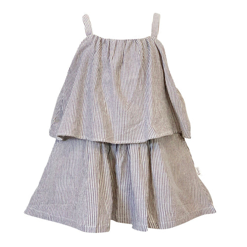 Tiered Dress Charcoal Stripe