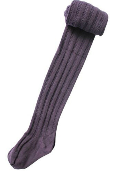 Grape Cable Knit Tights - LAST ONE size 6/8