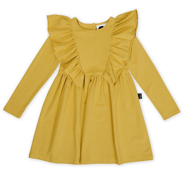 Honeycomb Waisted Ruffle Dress