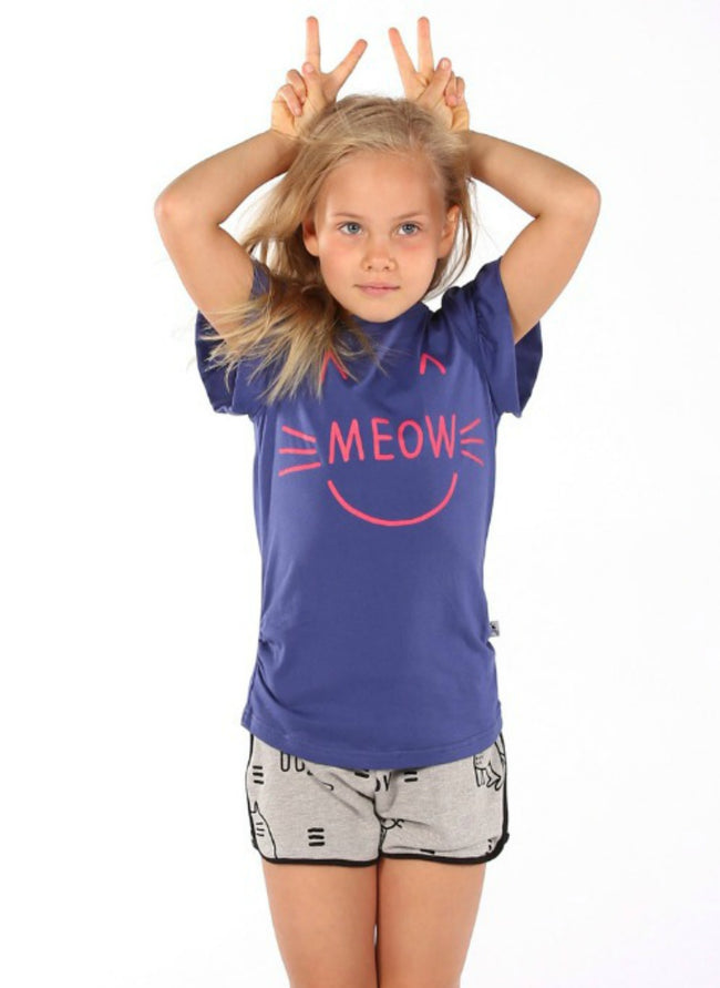Cat Meow Tee - Dark Blue