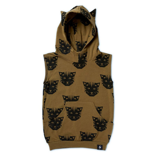 Tiger Sleeveless Pocket Hooded Vest – Khaki