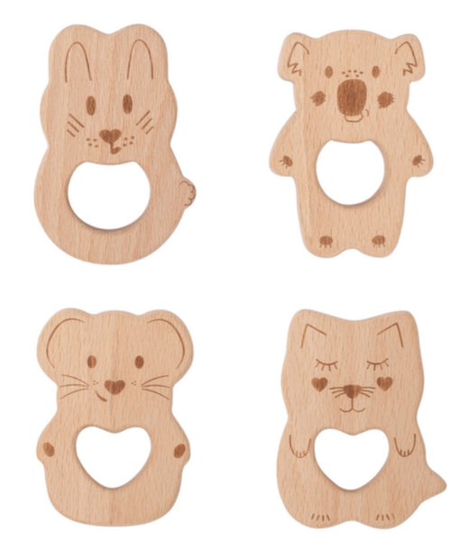 Kippin Natural Beech Wood Teething Toy - Kitty