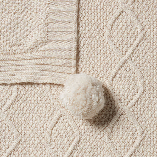 Knitted Cable Blanket - Oatmeal Melange