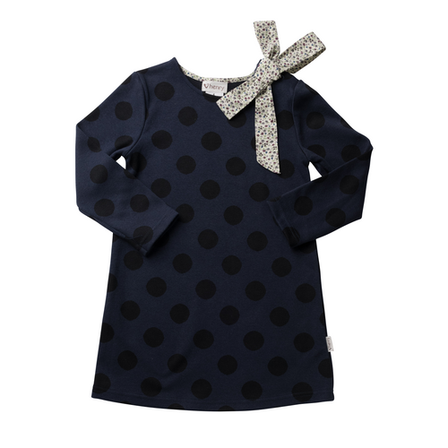 Mary Dress - Navy/ Black Spot