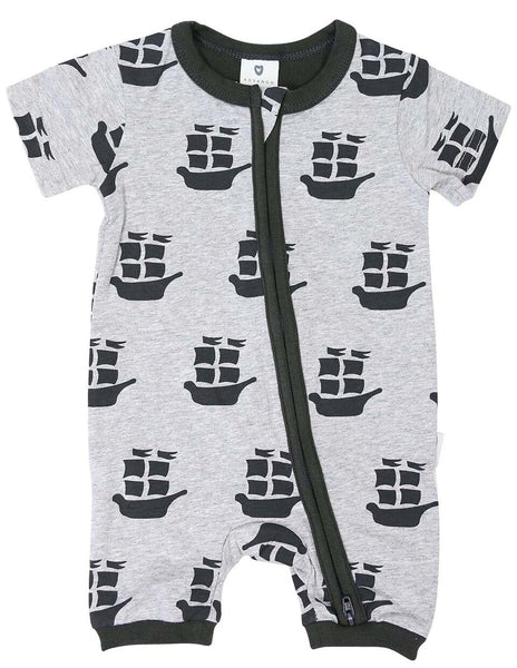 Pirate Ships Zip Short Sleeve Romper - Charcoal