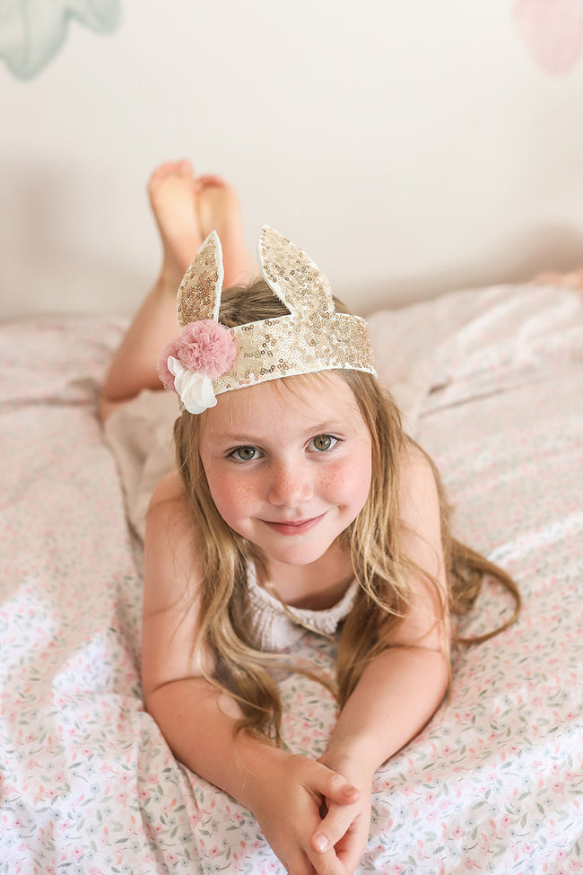 Sequin Bunny Crown - Gold