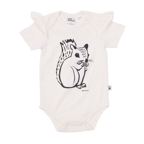 Squirrel Short Sleeve Ruffle Bodysuit