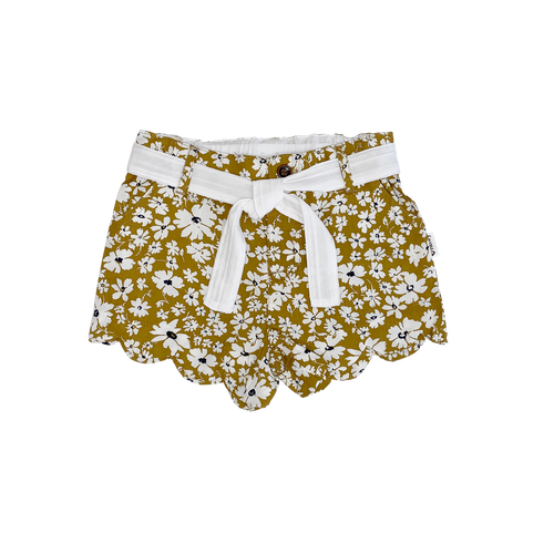 Scalloped Hem Shorts - Dijon Floral