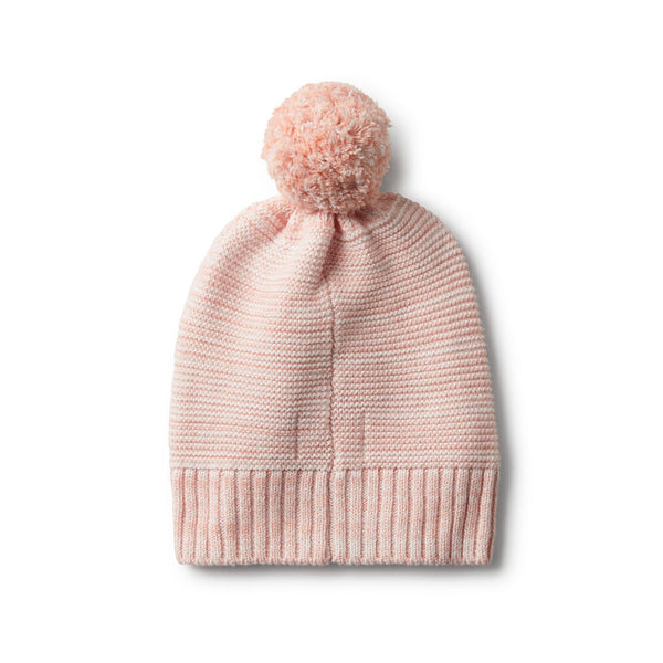 Strawberry & Cream Cable Knit Hat with Pom Pom