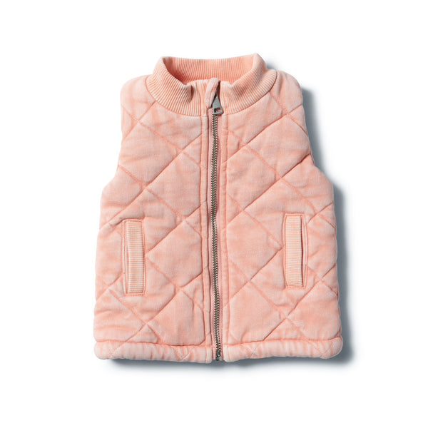 Strawberry Washed Back Quilted Vest