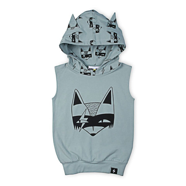 Super Fox Hooded Vest - Dusty Blue