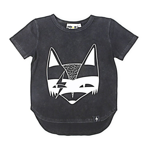 Super Fox placement T-shirt -Black Acid Wash