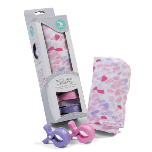 Muslin Wrap & 2 Pram Pegs – Abstract Pink