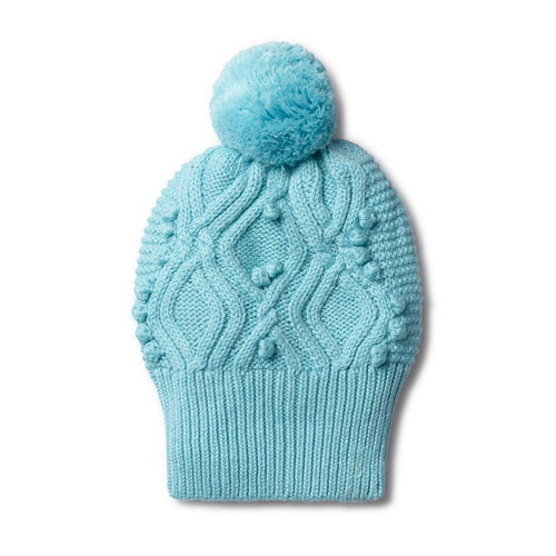 Petit Blue Cable Knitted Pom Pom Beanie