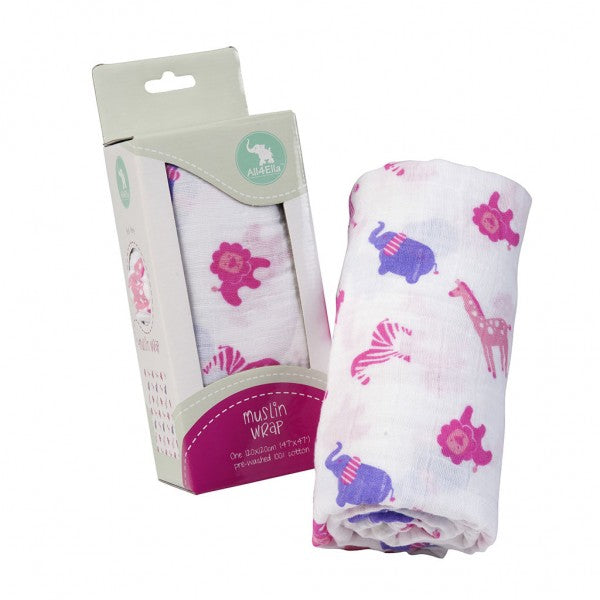 Muslin Wrap – Zoo Animals Pink/Purple