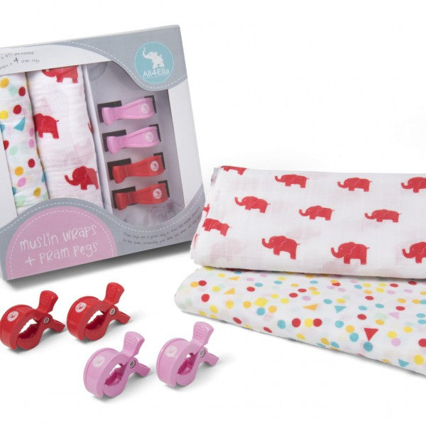 2 Pack Wraps & 4 Pram Pegs – Spots and Red Elephant