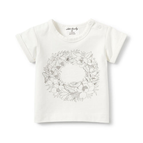 Wreath Rolled Cuff Tee