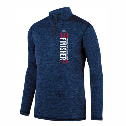 Dietz & Watson Philadelphia Half Marathon '2018 Finisher 13.1' Men's Heathered 1/4 Zip Tech Pullover - Navy