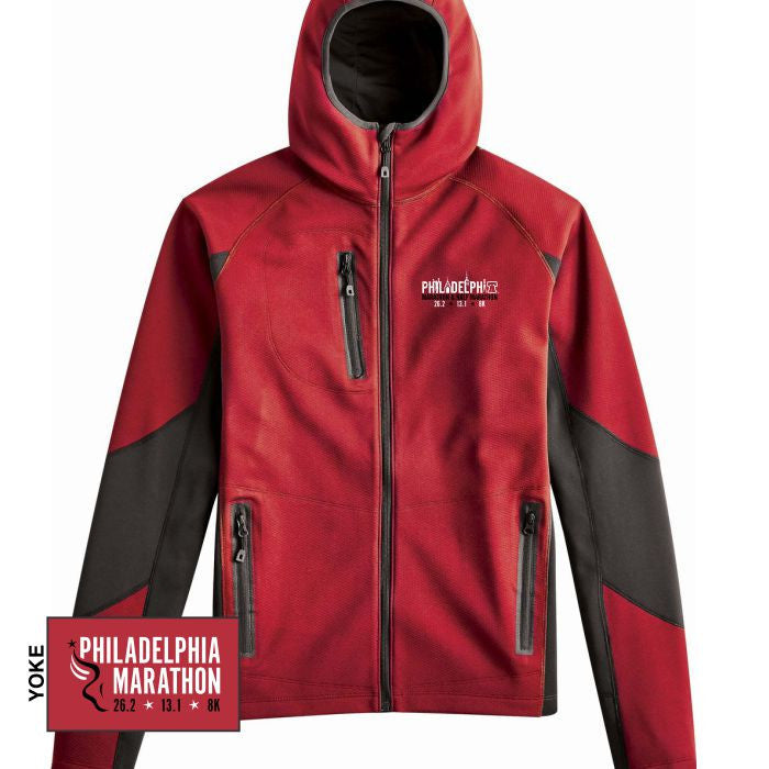 Philadelphia Marathon: 'Embroidered Landmarks' Men's Soft-Shell Hooded Full Zip Jacket - Red - by Phantoṃå¢