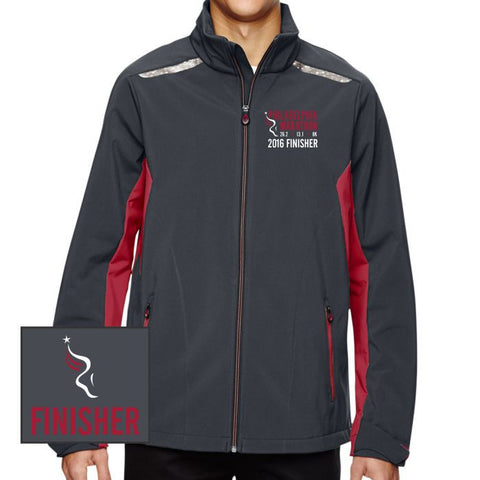 Philadelphia Marathon: 'Emb. Finisher' Men's Full Zip Soft Shell Jacket - Carbon / Olympic Red - by North End¨