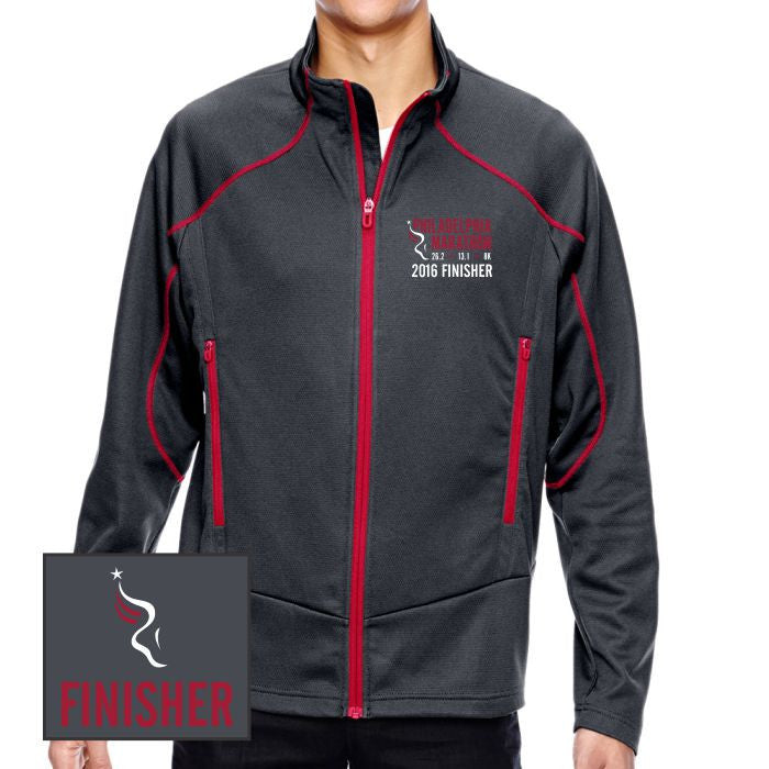 Philadelphia Marathon: 'Emb. Finisher' Men's Two-Tone Full Zip Brush-Back Jacket - Carbon / Olympic Red - by North End