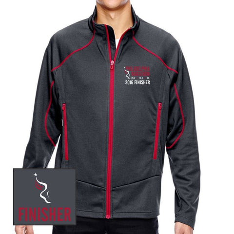 Philadelphia Marathon: 'Emb. Finisher' Men's Two-Tone Full Zip Brush-Back Jacket - Carbon / Olympic Red - by North End¨