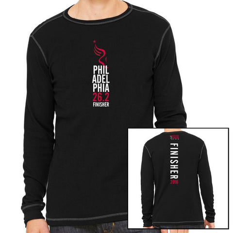 Philadelphia Marathon: 'Finisher 26.2' Men's LS Thermal Tee - Black / Grey - by Canvas