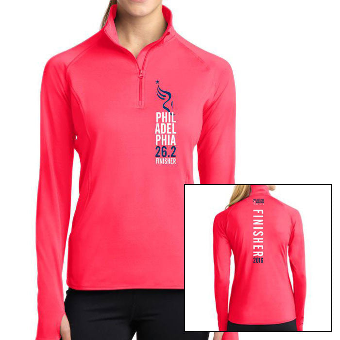 Philadelphia Marathon: 'Finisher 26.2' Women's Colorblock 1/2 Zip Stretch Pullover - Hot Coral - by Sport-Tek¨