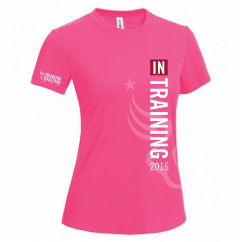 Philadelphia Marathon: '2016 In Training' Women's SS Tech Tee - Pink