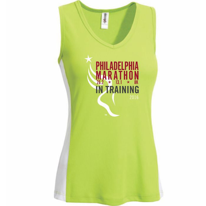Philadelphia Marathon: '2016 In Training' Women's Sleeveless V-Neck Tech Tank - Lime Green / White