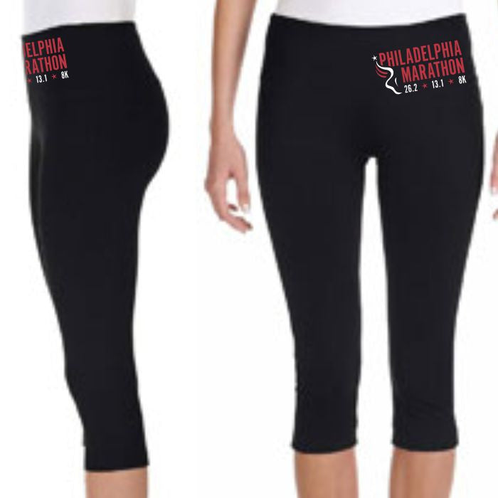 Philadelphia Marathon: 'Event Logo' Women's Stretch Capri's - Black - by Bella¨