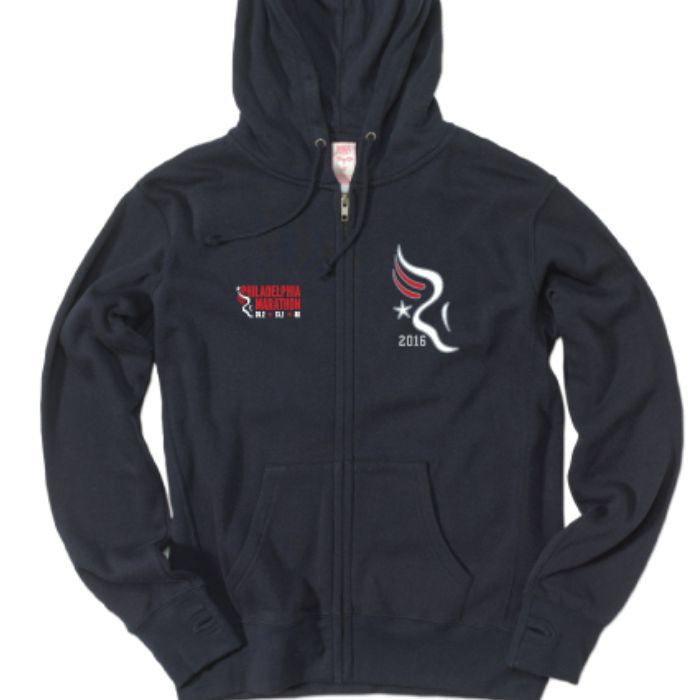 "Philadelphia Marathon: 'Applique' Women's Fleece ""Retro"" Full Zip Hoody - Navy - by MV Sport"