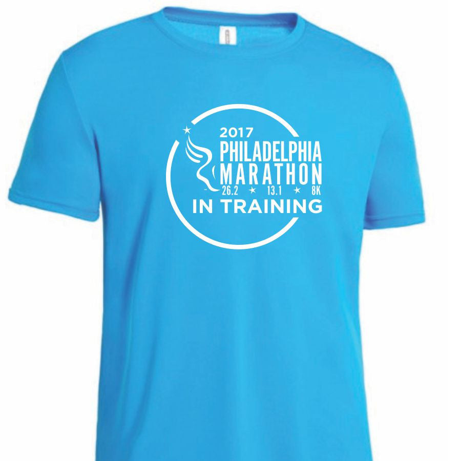 Philadelphia Marathon: '2017 In Training' Men's SS Tech Tee - Safety Blue <br><font color=#b3002d><b><i>Pre-order: ships in three weeks</i></b></font>