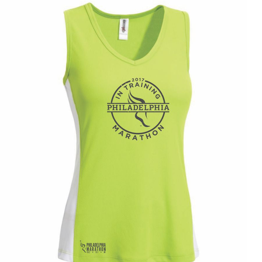 Philadelphia Marathon: '2017 In Training' Women's Sleeveless V-Neck Tech Tank - Key Lime <br><font color=#b3002d><b><i>Pre-order: ships in two weeks</i></b></font>