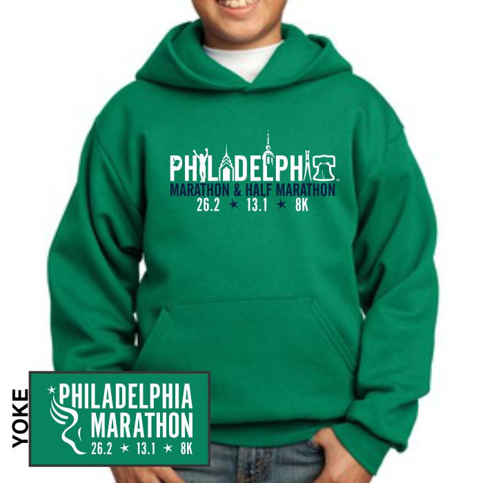 Philadelphia Marathon: 'Landmarks' Youth Fleece Pullover Hoody - Kelly Green - by Port & Company