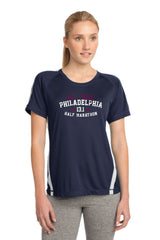 Philadelphia Marathon: 'Collegiate Half Marathon' Women's SS Tech Tee - Navy / White - by Sanmar