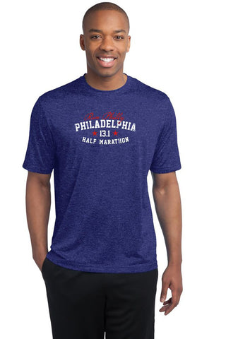 Philadelphia Marathon: 'Collegiate Half Marathon' Men's SS Tech Heathered Tee - Cobalt - by Sanmar