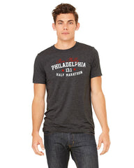Dietz & Watson Philadelphia Half Marathon: 'Collegiate' Men's SS Tri-Blend Tee - Charcoal Black Triblend - by Next Level