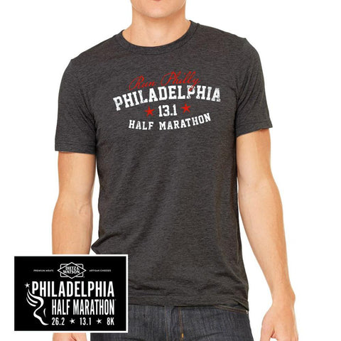 Philadelphia Marathon: 'Collegiate Half Marathon' Men's SS Tri-Blend Tee - Charcoal Black Triblend - by Staton Mem or Alpha PA